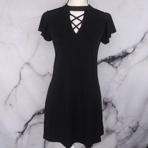 About A Girl Criss-Cross Neck Ruffle Sleeve Dress